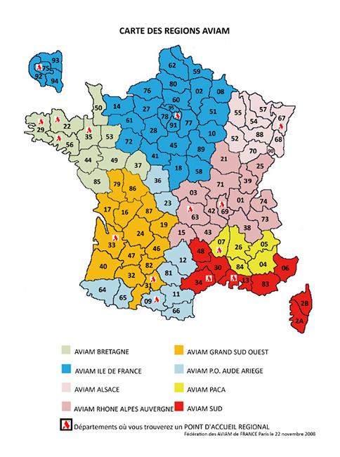 L'AVIAM est découpé en plusieurs zone géographique en France: